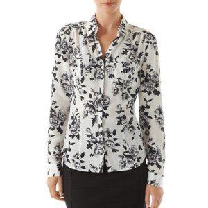 Silk Long Sleeve Floral Shirt Black & White Size 0